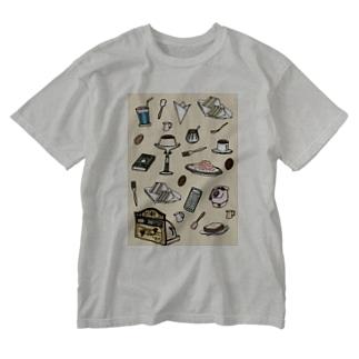 純喫茶 いろどり 背景つき Washed T-shirts
