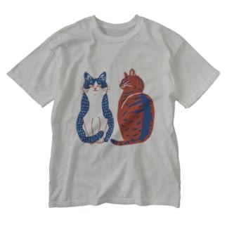 ハチワレさんとキジトラさん Washed T-shirts