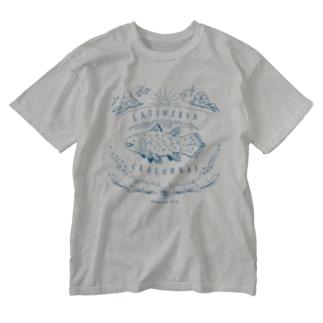 (線/青)シーラカンス  Washed T-shirts