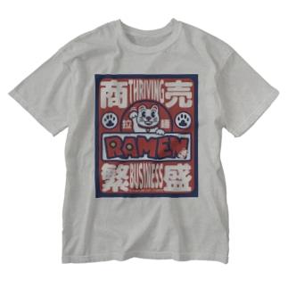 招き猫 商売繁盛シリーズ -拉麺- Washed T-shirts