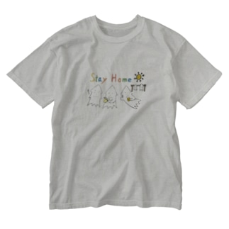 STAY HOME モンゴイカ Washed T-shirts