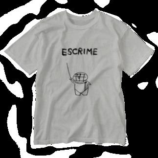 えすくりむん(フェンシング君)のえすくりむん(ラフ) Washed T-shirts