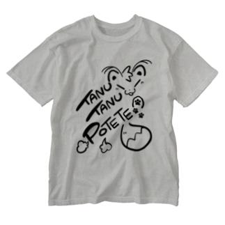 TANUTANUPOTETE(黒) Washed T-shirts