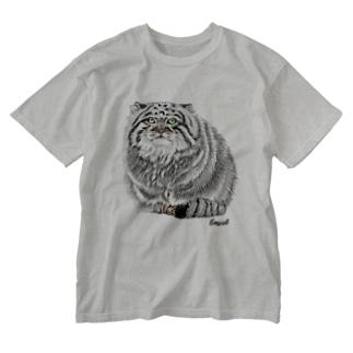 お座りマヌルネコ Washed T-shirts