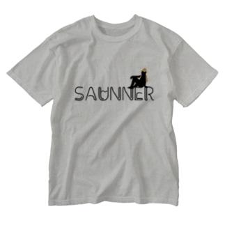 サウナで泣くOLのSAUNNER_ORANGE Washed T-shirts