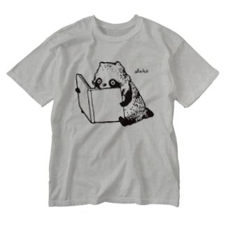 すわりよみたぬき Washed T-shirts