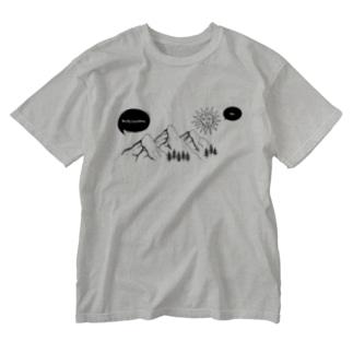 RIRI_designの山と太陽の会話 Washed T-shirts