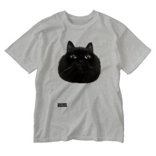 まんまるクロネコ Washed T-shirts