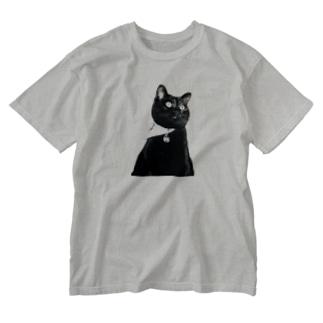 我が家の姫 クロちゃん Washed T-shirts