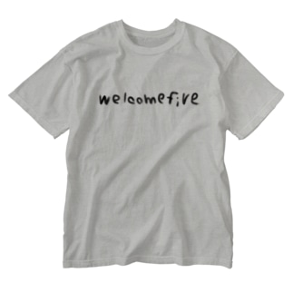 welcomefive 黒字T-shirt Washed T-shirts