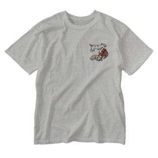 なかよしだワン(3匹) Washed T-shirts