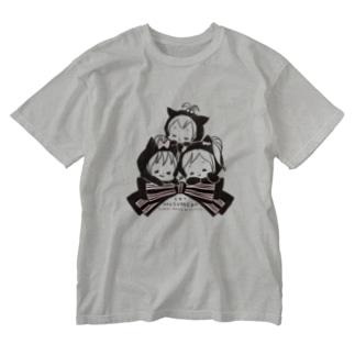 ムスメら(ネコリボン) Washed T-shirts