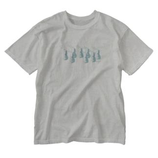 遠吠えハスキーズブルー Washed T-shirts