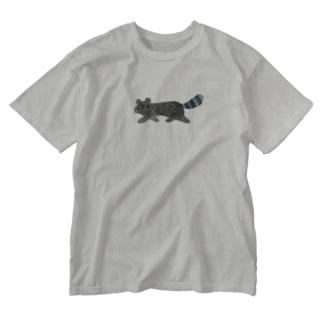 さかさかたぬき Washed T-shirts