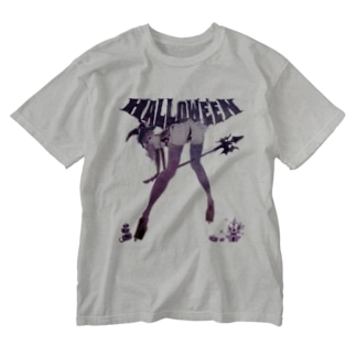 HALLOWE'EN WITCH 彼女はウィッチ パープル Washed T-shirts