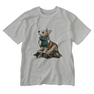 マフラー犬 コーギー Washed T-shirts
