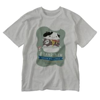 こまめがバーガー Washed T-shirts