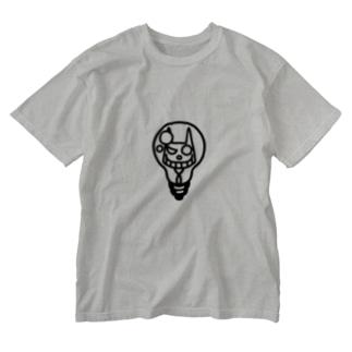 ひらめいたネコサン/モノクロベタ Washed T-shirts