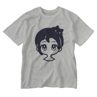 クロネコアタマ Washed T-shirts