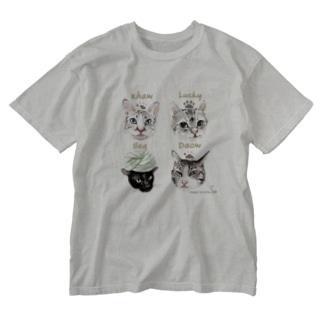 <うちの子+にくきゅう*ポートレート>KHAW & DAOW&BEA&LUCKY Washed T-shirts