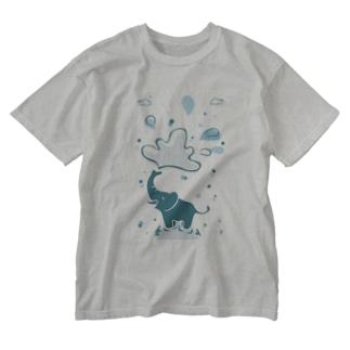 像の水浴び Washed T-shirts