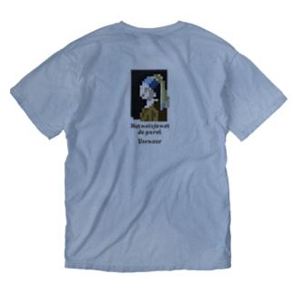 【バックプリント】 ドット 真珠の耳飾りの少女 Washed T-shirts