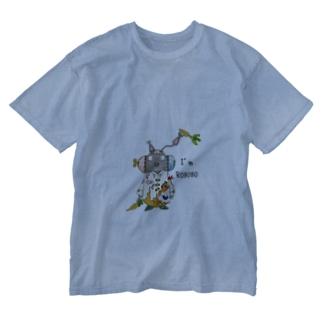 ROBOBO 「まーぶるロボ」ウサギ スチームパンク Washed T-shirts