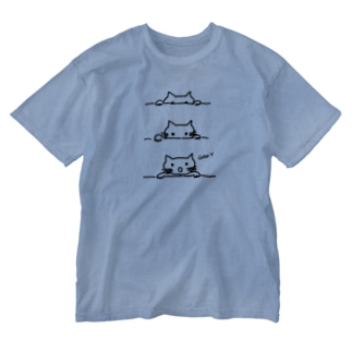 猫ちゃんびっくり Washed T-shirts