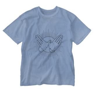 手遊び・鳩 Washed T-shirts