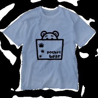 mojimojiのpocket bear【ポケットくまさん】 Washed T-shirts