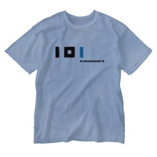 plus minus toichi 05-2 黒&青 Washed T-shirts