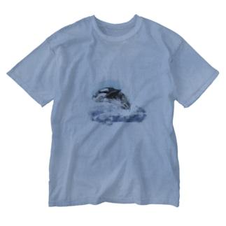 いきものイラスト(シャチ) Washed T-shirts