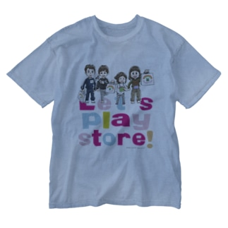 Let's play store!(両面印刷) Washed T-shirts
