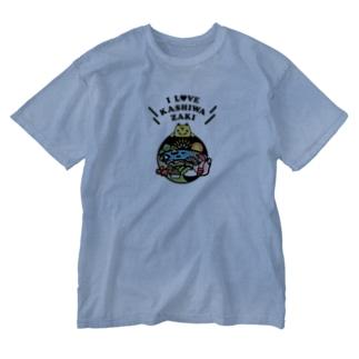 柏崎ファンクラブのkz_T04 kashiwazaki fc IloveCenter Fullcolor Washed T-shirts