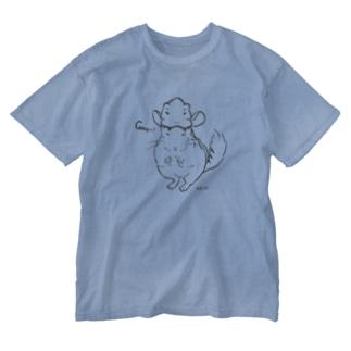チンチラザウルス Washed T-shirts