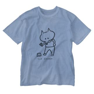 アイスクリーム落としたキツネ Washed T-shirts