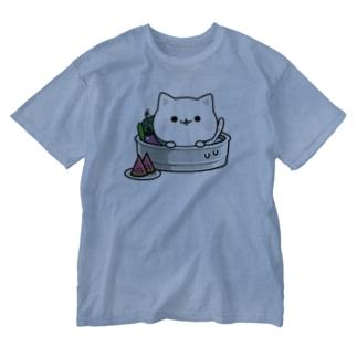 気づかいのできるネコ 夏ver.  Washed T-shirts