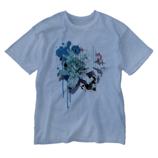 Lily Skull [Blue] Washed T-shirts