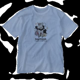 はずれ馬券屋の馬イラスト397 馬たちとハロウィン 黒 Washed T-shirts