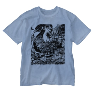 孔雀モノクロ Washed T-shirts