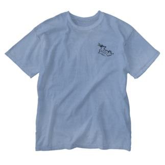 ゆったりblue deer Washed T-shirts