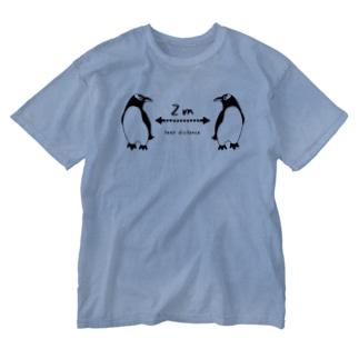 ジェンツーペンギン好きのためのソーシャルディスタンス Washed T-shirts