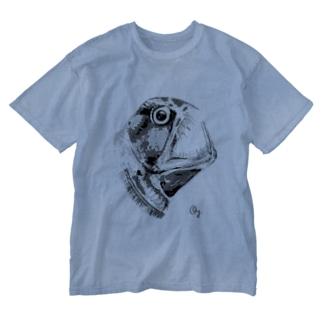 ホウライエソ(モノクロ) Washed T-shirts