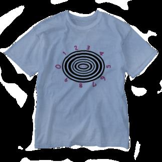 usa100のぐるぐるナンバー Washed T-shirts
