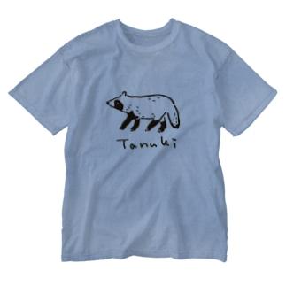 ゆるゆるタヌキ Washed T-shirts