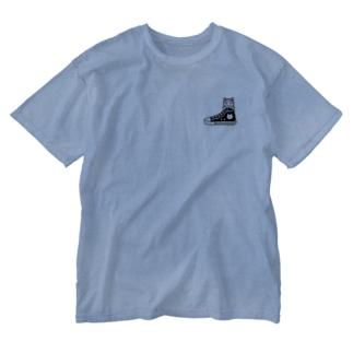 ドット絵猫スニーカー Washed T-shirts