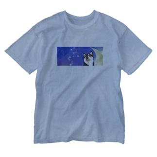 (黒柴)うちのわんこchanシリーズ 月と星 横長  Washed T-shirts