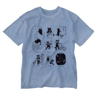怪盗キャッツの1日 Washed T-shirts