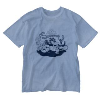 Summer vacation (Navy) Washed T-shirts