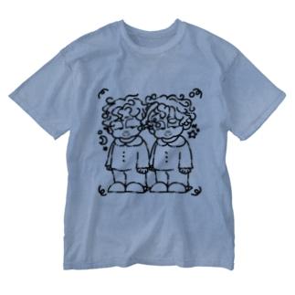 寝癖(Black ver.) Washed T-shirts